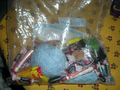 parade candy, with yarn