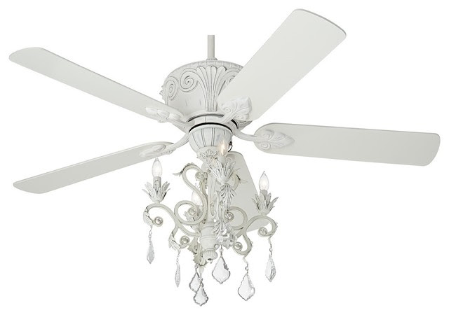 Antique White Ceiling Fan With Light Kit