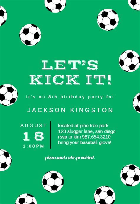 Soccer Birthday   sports & games Invitation Template (Free