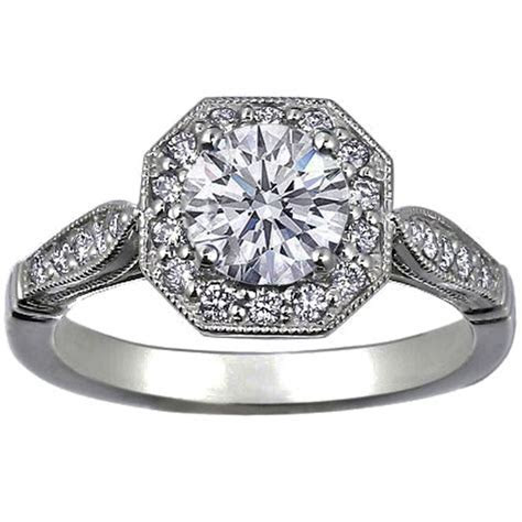 Octagon Victorian Halo Diamond Engagement Ring 1/4 carat