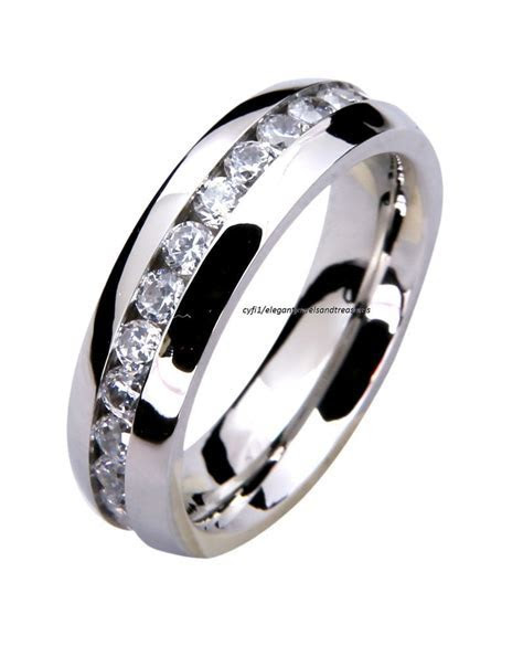 316L Stainless Steel Mens Ladies Comfort Fit 6mm Cz