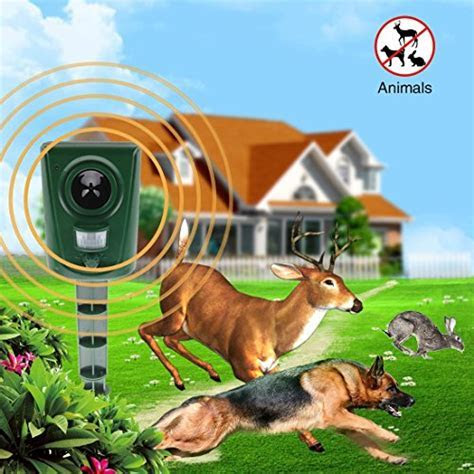 funfunfly [UPGRADED VERSION] Electronic Outdoor Animal Pets Pest Repeller for Cats, Dogs, Deer