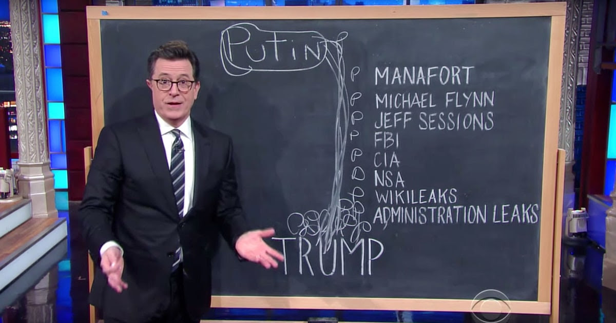 Image result for colbert trump russia