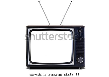blank screen black. white tv set, lank screen