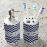 Personalize: Navy Gingham Check Diagonal Pattern Bath Accessory Sets