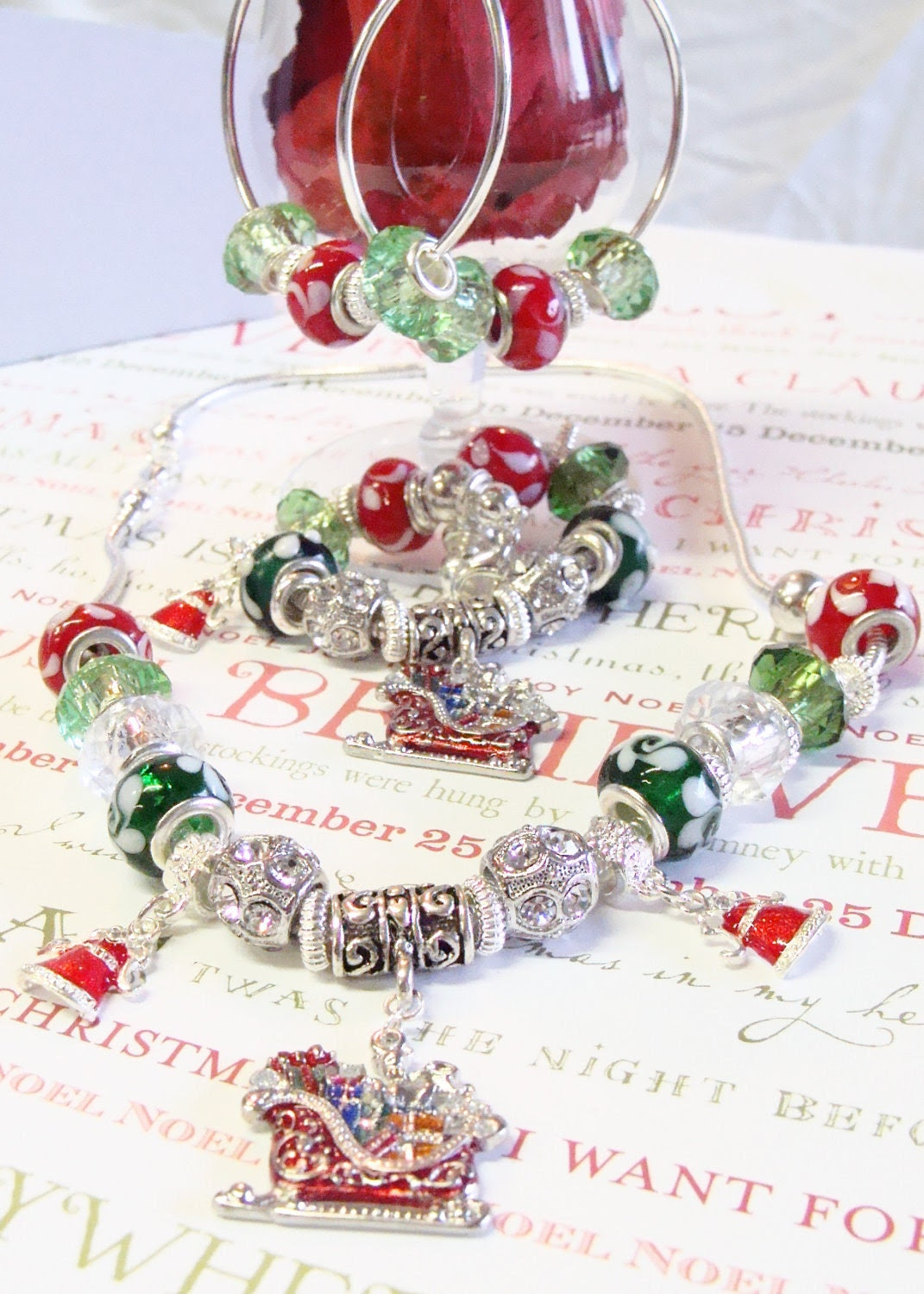 Christmas Red and Green Pandora Style Necklace with Crystals and Rhinestones