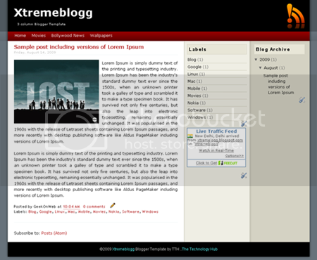 3 Column Blogger Template - Xtremeblogg