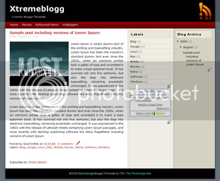 3 Column Blogger Template - Xtremeblogg