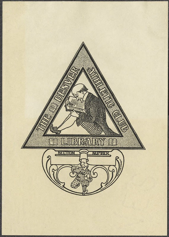 fun bookplate engraving with man reading book sitting in a triangle