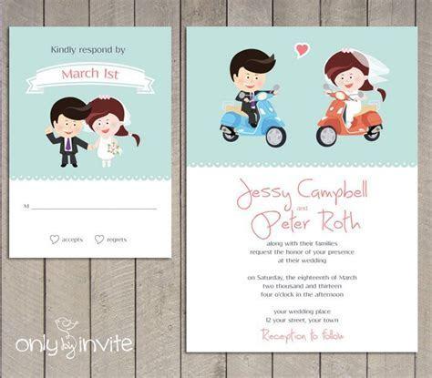 PRINTED   Vespa scooter wedding invitation   Funny wedding