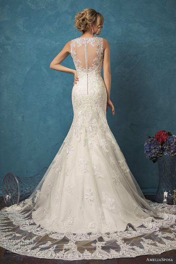 ärmelloses Meerjungfrau Spitze Hochzeitskleid mit illusion zurück auf Tasten und Spitze overskirt