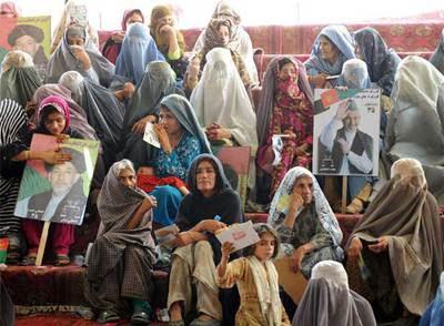 Un grupo de mujeres durante un mitin en Kandahar