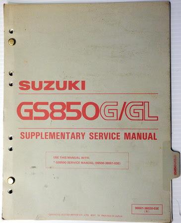 1983 Suzuki Gs850 Service Manual Supplement Gs850g Gs850gl Gs850gd Shop Repair Factory Repair Manuals