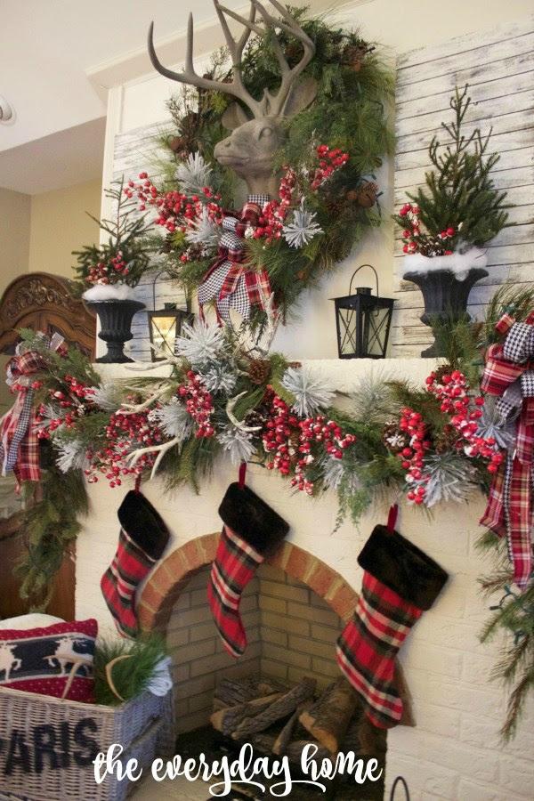 Tartan and Berry Christmas Mantel | The Everyday Home | www.everydayhomeblog.com 1200