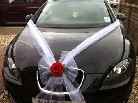 Wedding Car Flower Decoration White Organza Rose Detail