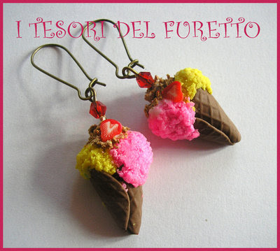 "Orecchini ""Gelato Fragola Limone"" fimo cernit kawaii bijoux originali estate 2014 idea regalo"