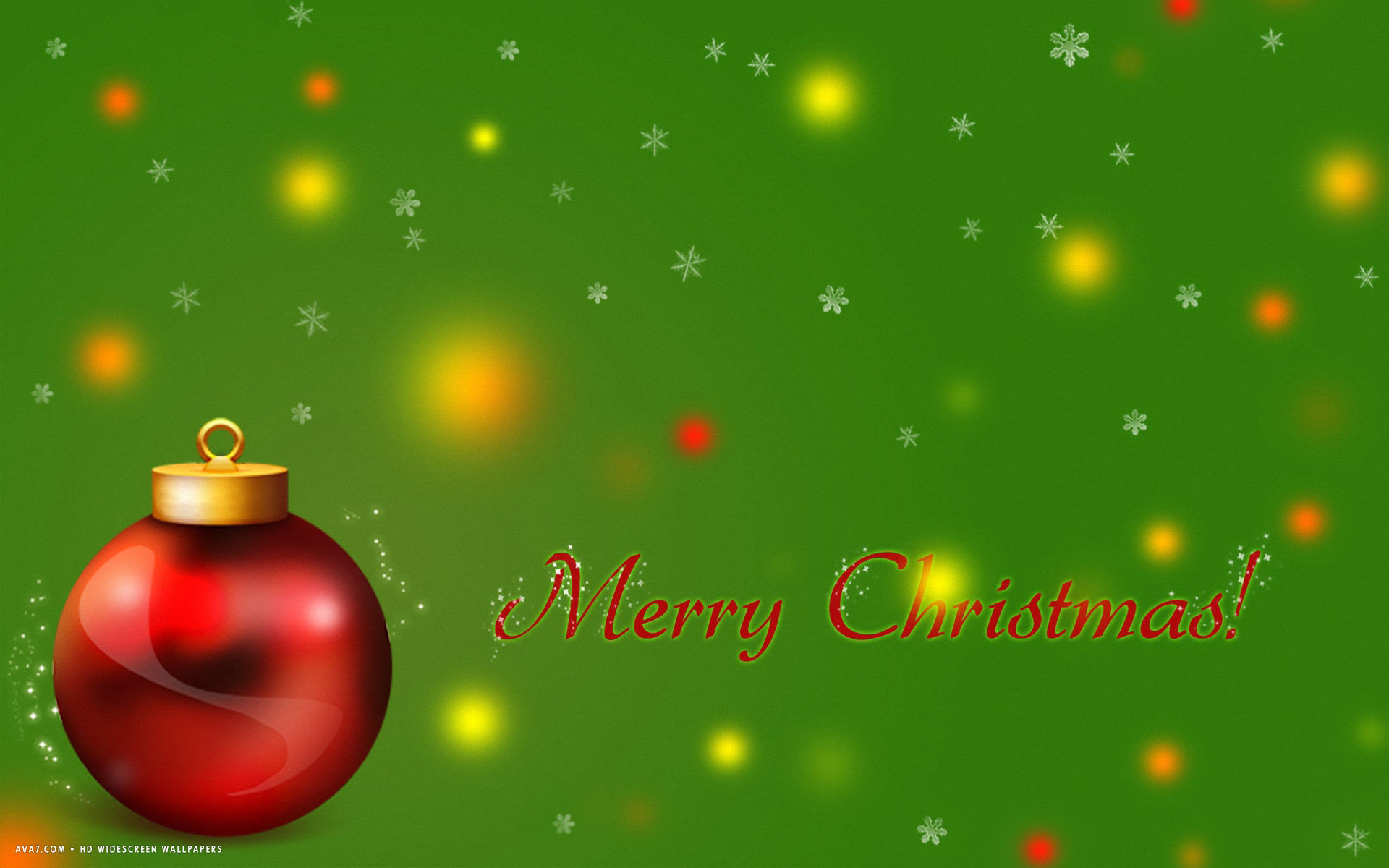 Merry Christmas Red Tree Ball Stars Snowflakes Green Holiday Hd