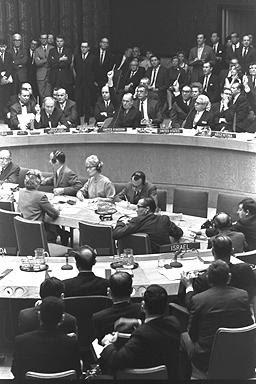 La sede dell'ONU durante la votazione della risoluzione n. 242.