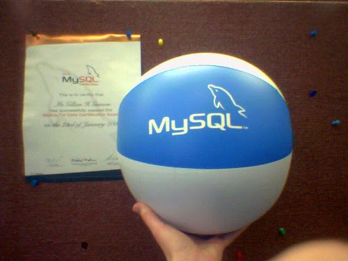 MySQL certification comes with swag by gillicious.