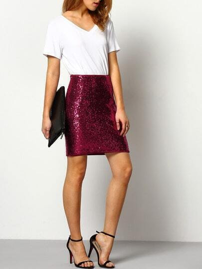Burgundy High Waist Sequined Sheath Skirt pictures