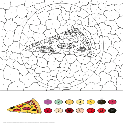 pizza colornumber  free printable coloring pages