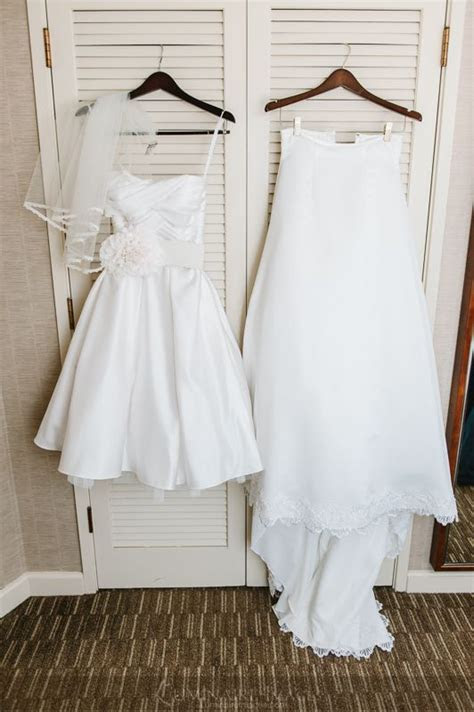 Wedding dress with a removable train, transforms into a