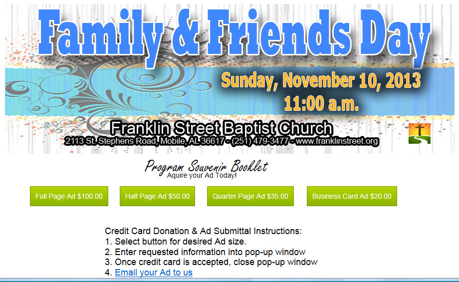 Family Friends Day Franklin Street Baptist Church Mobile Al