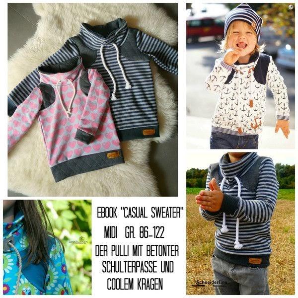 """Kostenloses Schnittmuster Pullover Kinder / Schnittmuster Pullover / Rüschenshirt """"MERRY"""" für Kinder ..."""