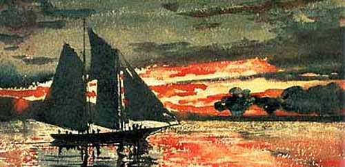 """""""Sunset Fire"""" Painting by Winslow Homer"""