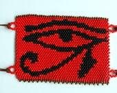 Beaded Eye of Horus wrist ankle arm cuff