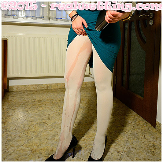 girl pisses her business outfit wetting tight skirt and white pantyhose nylons