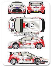 Calcas 1/24 Racing Decals 43 - Ford Fiesta WRC Lotos Nº 10 - Robert Kubica + Maciej Szczepaniak - Rally de Polonia 2014 - para usar con kit de Belkits BEL-003