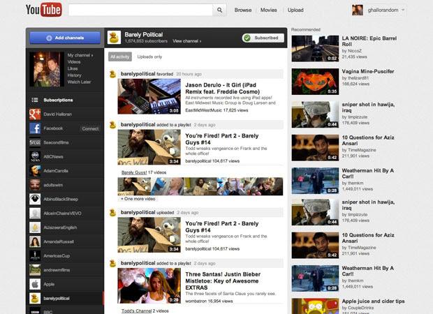 YouTube lançou nova página, com design mais 'limpo' (Foto: Reprodução)