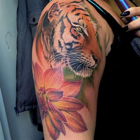 lizvenombeautiful tiger  dahlia flower tattoo  liz