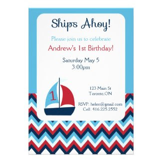 Nautical First Birthday Invitation