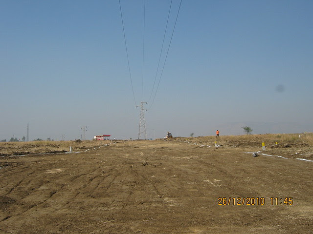 Approx 40 Feet wide main internal road in Majestic  NA Bungalow Plots:  at Kanhe Phata - near Vadgaon - Talegaon, walking distance from Kanhe Railway Station, on Old Mumbai Pune Highway (NH 4)