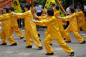 Tai chi show on Kung Fu Corner in Kowloon Park...
