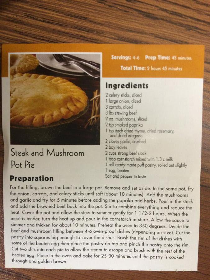 March '14 Recipe - Steak and Mushroom Pot Pie
