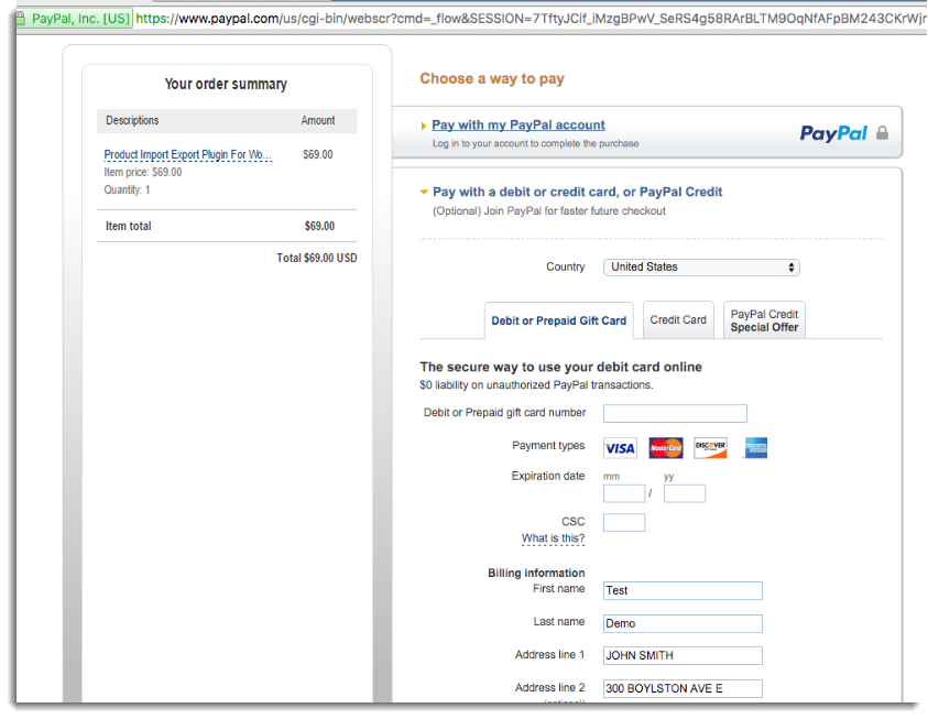 Complete payment with Paypal account or without creating ...