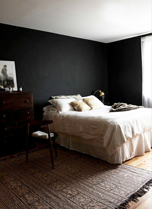 Le Fashion Blog -- A Fashionable Home: Bernadette Pascua's Williamsburg, Brooklyn Apartment -- Bedroom, Painted Black Walls, Mid-Century Modern Chair, Fur Throw Blanket -- Via Design Sponge photo Le-Fashion-Blog-A-Fashionable-Home-Bernadette-Pascua-Williamsburg-Brooklyn-Apartment-Bedroom-Black-Walls-edit.jpg