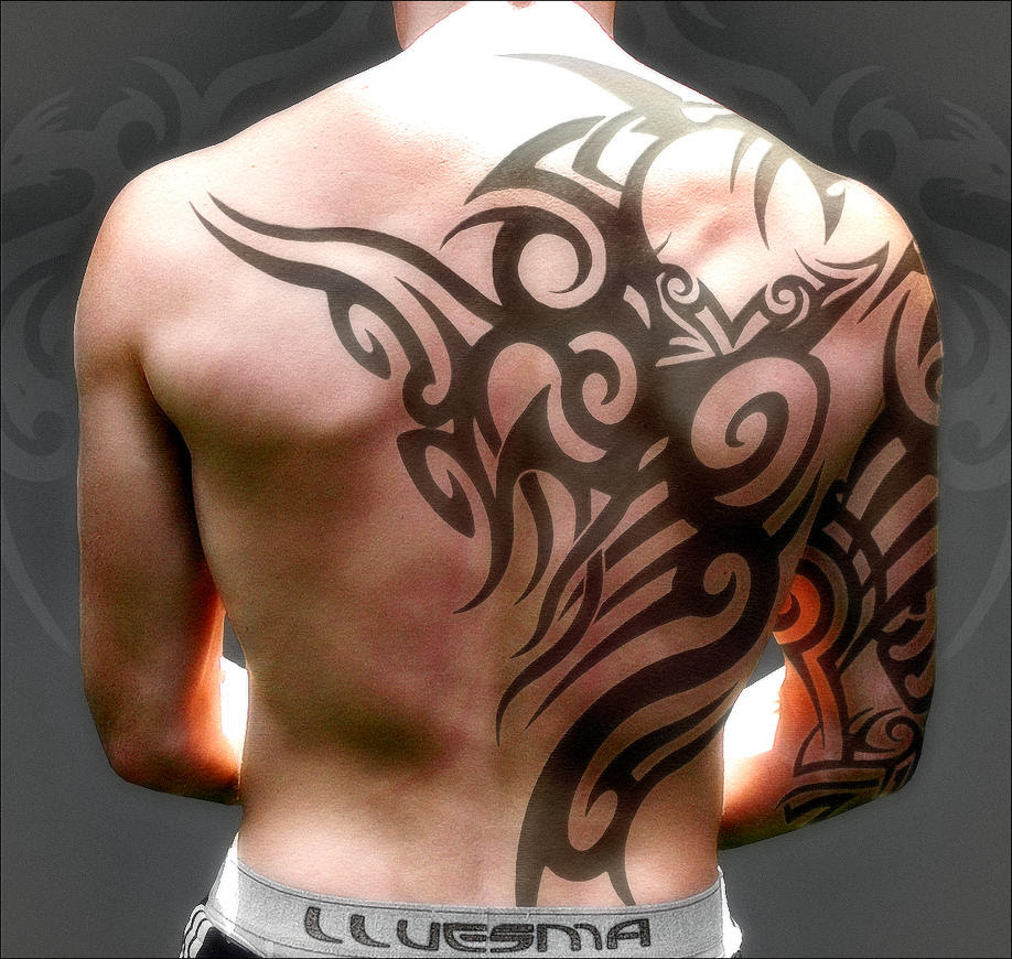 art Tattoo DesignTribal Tattoo Design On Back Body Man