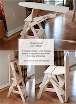 3-in-1 Chair Woodworking Plan - fee plans from WoodworkersWorkshop® Online Store - vintage ironing boards, step stools, kitchen chairs, bachelor chairs,sitonit chiars,painting wood crafts,patterns,drawings,plywood,plywoodworking plans,woodworkers projects,workshop blueprints