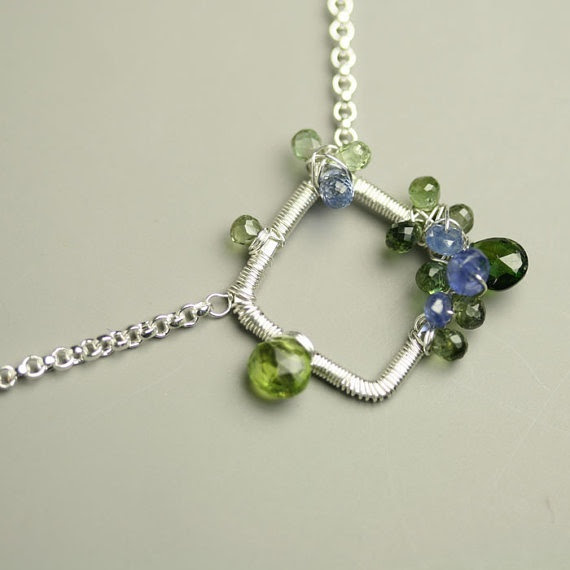 Wire Wrapped Necklace Sterling Silver Blue Sapphire Green Tourmaline