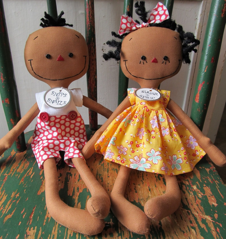 Abigail & Adam handmade cloth dolls Boy and Girl Pair