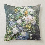 Spring Bouquet by Pierre Auguste Renoir throwpillow