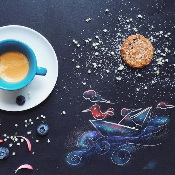 morning coffee with cookies illustration