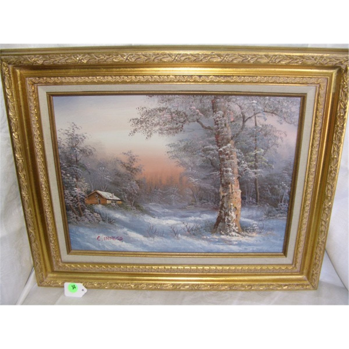 Nice Oil Painting On Canvas By C Inness Snowy Scene Cabin Frame