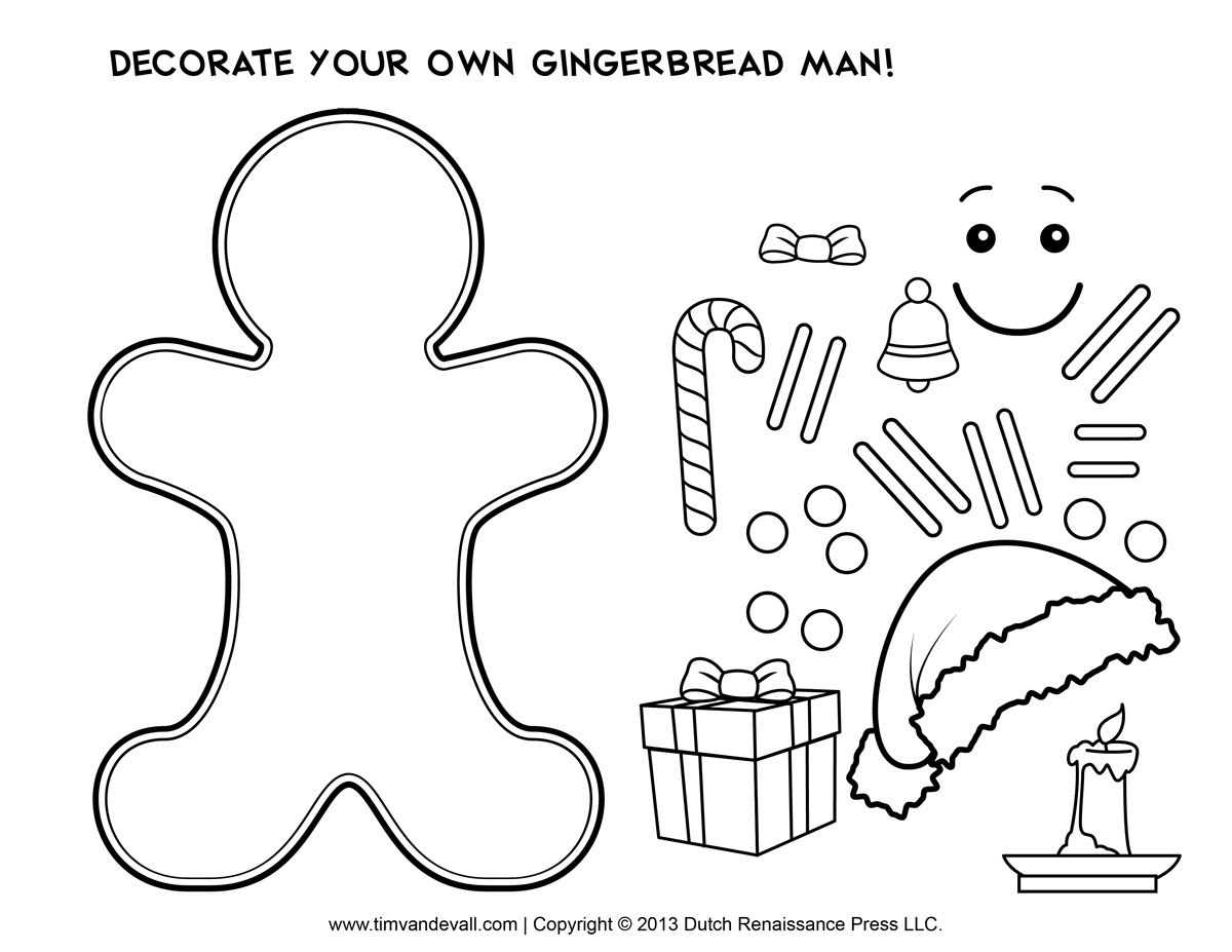 Gingerbread Man Template, Clipart & Coloring Page for Kids