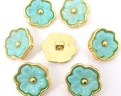 6 pcs. Lt. blue and gold flowers plastic buttons ,  vintage,  20mm - BigDeal