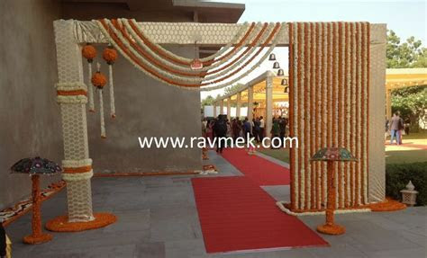 Baraat Welcome Gate at an Indian Wedding   Floral Decors